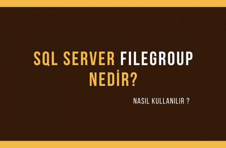 SQL Server Filegroup Oluşturma&Kullanımı